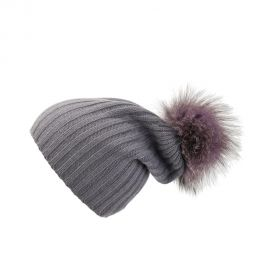 Ribbed Hat with Lilac Pom-Pom by Loveknitz at Loveknitz