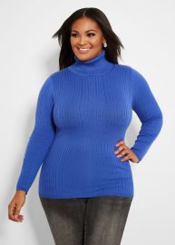 Ribbed Knit Turtleneck Sweater by Ashley Stewart at Ashley Stewart