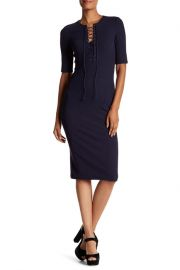 Ribbed Lace-Up Tee Dress by Derek Lam 10 Crosby at Nordstrom Rack