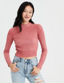 Ribbed Mock Neck Pullover Sweater by American Eagle at American Eagle