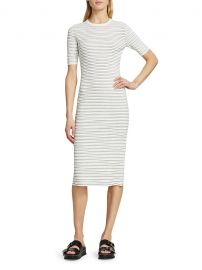 Ribbed Stretch Knit Striped Midi Dress by Theory at Saks Off 5th