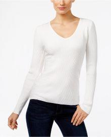 Ribbed V-Neck Sweater at Macys