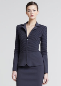 Ribbed zip front jacket by Armani at Neiman Marcus