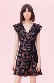Ribbon Lurex Jacquard Ruffle Dress at Rebecca Taylor