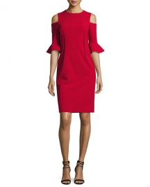 Rickie Freeman for Teri Jon Cold-Shoulder Stretch-Crepe Mini Sheath Dress at Neiman Marcus