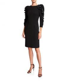 Rickie Freeman for Teri Jon Crepe Sheath Dress with Taffeta Pearl Ruffle Trim at Neiman Marcus