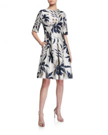 Rickie Freeman for Teri Jon Leaf-Print Jacquard Cocktail Dress at Neiman Marcus