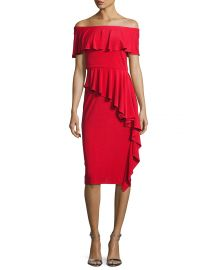 Rickie Freeman for Teri Jon Off-the-Shoulder Draped Jersey Sheath red at Neiman Marcus