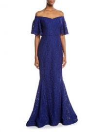 Rickie Freeman for Teri Jon Off-the-Shoulder Lace Mermaid Gown at Last Call