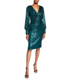 Rickie Freeman for Teri Jon Sequin Blouson-Sleeve Ruched-Waist Cocktail Dress at Neiman Marcus