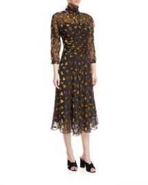 Rickie Freeman for Teri Jon Sheer  amp  Floral Burnout Velvet Dress at Neiman Marcus