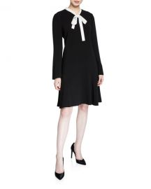 Rickie Freeman for Teri Jon Tie-Neck Long-Sleeve Crepe Dress with Pearly Trim at Neiman Marcus