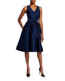 Rickie Freeman for Teri Jon V-Neck Sleeveless Jacquard Dress with Sash Belt at Neiman Marcus