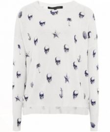 Riley V-Neck Skull-Print Cashmere Sweater by 360 Sweater at Neiman Marcus