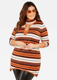 Ring Detail Striped Sweater by Ashley Stewart at Ashley Stewart