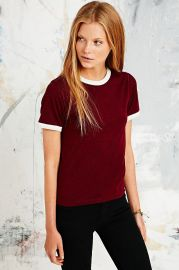 Ringer Marl Tee in Maroon by Urban Outfitters at Urban Outfitters