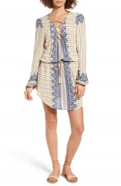 Rip Curl Winter Bird Print Lace-Up Dress at Nordstrom