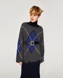 Ripped Diamond Knit Sweater at Zara