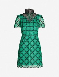 Ritta contrast-panel floral-lace dress at Selfridges