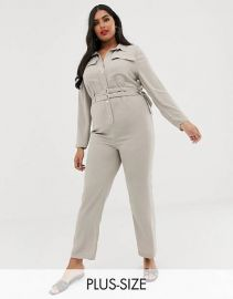 River Island Plus utility jumpsuit in stone   ASOS at Asos
