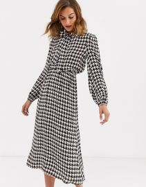 River Island midi dress with pussybow in houndstooth   ASOS at Asos