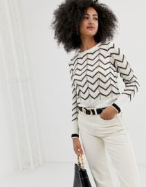 River Island sweater with chevron stripe in white   ASOS at Asos