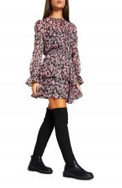 River Island Floral Shirred Long Sleeve A-Line Dress   Nordstrom at Nordstrom