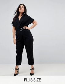 River Island Plus Belted Wrap Front Jumpsuit at ASOS