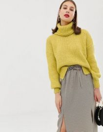 River Island chunky roll neck sweater in yellow   ASOS at Asos