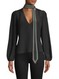 Rixo - Kate Contrast Neck Tie Silk Top at Saks Fifth Avenue