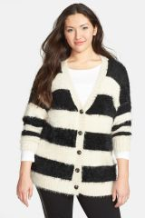 Ro and De Stripe Textured Cardigan Plus Size at Nordstrom Rack