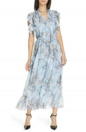 Robert Rodriguez Clara Ruffle Cotton  amp  Silk Midi Dress   Nordstrom at Nordstrom