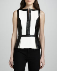 Robert Rodriguez Colorblock Faux-Leather Peplum Top at Neiman Marcus