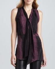 Robert Rodriguez Croc-Print Silk Scarf-Detail Top at Neiman Marcus