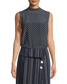 Robert Rodriguez Sleeveless Open-Back Polka-Dot Blouse   Neiman at Neiman Marcus