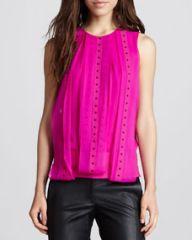 Robert Rodriguez Studded Layered Silk Top at Neiman Marcus