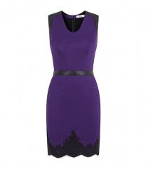 Robert Rodriguez purple leather trim dress at Harrods