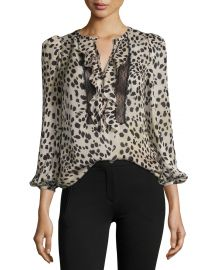 Roberto Cavalli Cheetah-Print Lace-Trim Silk Blouse  Neutral at Neiman Marcus
