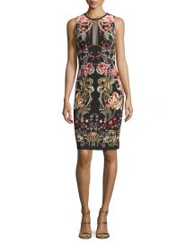 Roberto Cavalli Galaxy   Garden Printed Sleeveless Sheath Dress  Black Red at Neiman Marcus