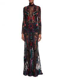 Roberto Cavalli Long-Sleeve Illusion Gown  Black Pattern   Neiman at Neiman Marcus