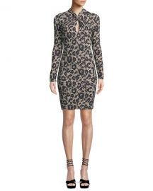 Roberto Cavalli Long-Sleeve Twist-Neck Leopard-Print Body-Con Mini Dress at Neiman Marcus