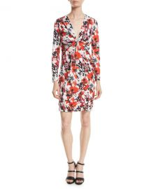 Roberto Cavalli Thistle Abstract-Print Jersey Long-Sleeve V-Neck Mini Dress at Neiman Marcus