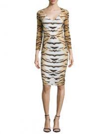 Roberto Cavalli Tiger-Print 34-Sleeve Gathered Sheath Dress at Neiman Marcus
