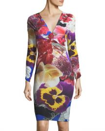 Roberto Cavalli V-Neck Long-Sleeve Fitted Floral-Print Dress at Neiman Marcus