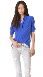 Robins Equipment blouse in blue at Shopbop at Shopbop