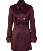 Robins burgundy Burberry trench coat at Stylebop