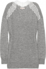 Robin's grey and white lace sweater at Net A Porter