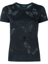 Rockstud Butterfly Embroidered T-shirt by Valentino at Farfetch