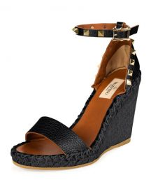 Rockstud Ankle-Wrap Espadrille Wedge at Last Call