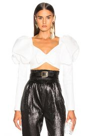 Rodarte Cropped Bustier Bow Top in White   FWRD at Forward